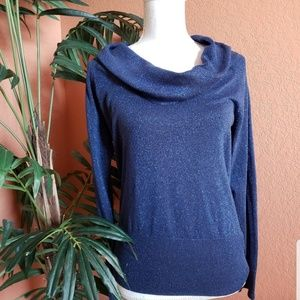 Alex Marie Cowl Neck Sweater Metallic Sparkle Blue